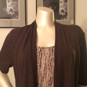 Top brown with attached tank cream/brown
